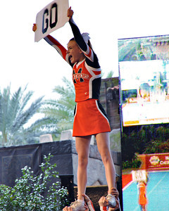 Terra Saxion/For The Daily Item The Milton Area High competitive cheerleading team works its routine Saturday at the National High School Cheerleading Championships in Orlando, Fla.