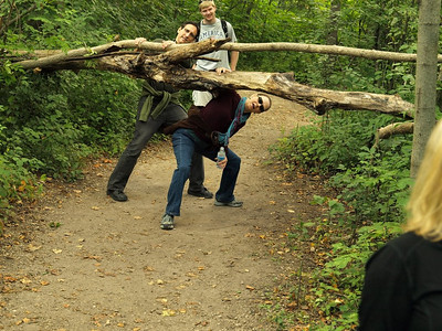 Even in the heart of metropolis,treefalls continue to plague the hikers.  Here, couple of senior citizens attempt to negotiate an obstacle.  Are you going to be up to the challenge on Sept. 11?