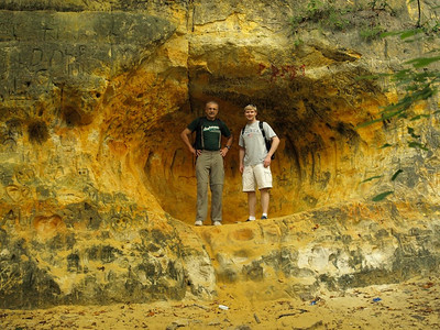 Later in the hike, Martin and Eric explored a remote sandstone cave where ancient indigenous people of Minneapolis carved pictures of animals and scenes from every day life in the soft rock.