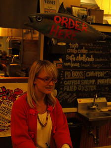 "Visual communitation at its best.  ""Order (seafood) here.""   You got to love it.  And the food here was great."