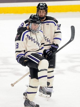 Pat Christman<br /> Minnesota State's Matt Leitner celebrates a goal during the first period of their North Star College Cup game Friday at the Xcel Energy Center in St. Paul.
