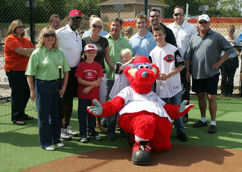 E.L. Hubbard Photography<br /> The Miracle League Park Complex of Warren County and Greater Dayton had a ribbon cutting ceremony at their new ballpark in front of Springboro Junior High School Saturday, September 19, 2009. Cincinnati Reds pitcher Aaron Harang, as well as former Reds Sean Casey, Tom Browning and George Foster, and Reds mascot Gapper, took part in the ceremony.