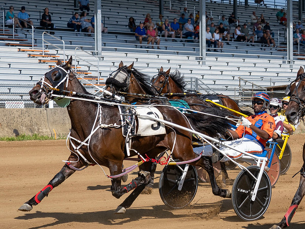 Driver Terry Skinner (3) wins race one of the one mile pace with Riggins Revenge Monday during day two of harness racing at the Elkhart County 4-H Fairgrounds in Goshen.
