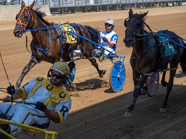 Driver Clay Craib (6) drives Al Perfection during race four of the one mile pace Monday during day two of harness racing at the Elkhart County 4-H Fairgrounds in Goshen.
