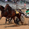 Driver Melvin Schmucker (6) rides J-S Hopscotch to a narrow victory over Jay Cross' Southern Swan Man in the 3-year-old colt Maple City Trot Tuesday during harness racing at the Elkhart County 4-H Fairgrounds.