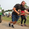 Mitch Miller works his way down the tractor pull course during the strongman competition at the 2021 Elkhart County 4-H Fair Saturday.