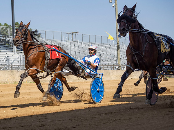 Driver Kevin Lambright (1) drives Vel Gorgoueousforeal during race two of the one mile pace Monday during day two of harness racing at the Elkhart County 4-H Fairgrounds in Goshen.