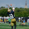HALEY WARD | THE GOSHEN NEWS<br /> Safety Drue Tranquill attempts to catch the ball while running drills during Notre Dame football practice Wednesday.