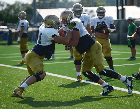 HALEY WARD   THE GOSHEN NEWS<br /> during Notre Dame football practice Wednesday.