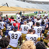 CHAD WEAVER | THE GOSHEN NEWS<br /> Notre Dame head coach Brian Kelly addresses the team after Saturday's Blue-Gold game at Notre Dame Stadium.