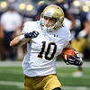 CHAD WEAVER | THE GOSHEN NEWS<br /> Notre Dame junior wide receiver Chris Finke runs after making a catch during the first half of Saturday's Blue-Gold Game at Notre Dame Stadium.