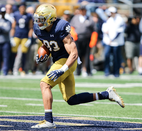 CHAD WEAVER   THE GOSHEN NEWS<br /> Notre Dame sophomore wide receiver Chase Claypool runs after making a catch during the second half of Saturday's Blue-Gold Game at Notre Dame Stadium.