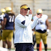 CHAD WEAVER | THE GOSHEN NEWS<br /> First- year Notre Dame defensive coordinator Mike Elko applauds prior to the start of Saturday's Blue-Gold game at Notre Dame Stadium.