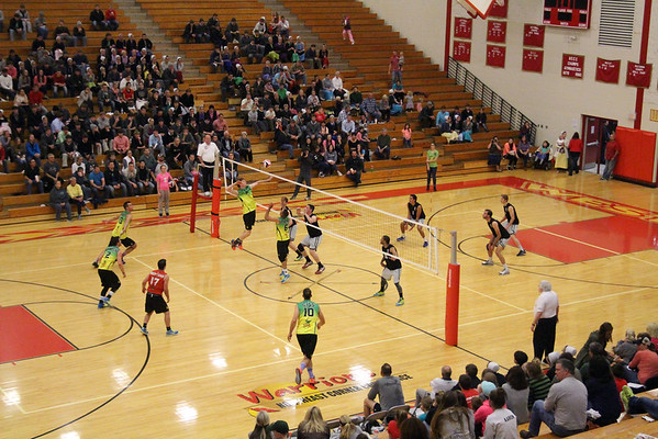 STEPHEN BROOKS   THE GOSHEN NEWS<br /> Team Pineapple, led by four-time Olympian and gold medalist Lloy Ball, and Team Lights Out, led by USAV national champion Harshil Thaker, played an exhibition match Saturday at Westview High School with all proceeds going to Haven of Hope Ministries.