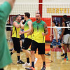 STEPHEN BROOKS | THE GOSHEN NEWS<br /> Lloy Ball of Team Pineapple celebrates winning a point against Team Lights out in an exhibition game for charity on Saturday at Westview High School. Ball, a four-time Olympian and gold medalist, leads Team Pineapple while Team Lights Out is led by USAV national champion Harshil Thaker. Proceeds from the event went to to Haven of Hope Ministries.