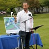 Goshen Mayor Jeremy Stutsman speaks to the crowd during Bethany Christian's groundbreakingg ceremony of a new athletics complex at the school Saturday.