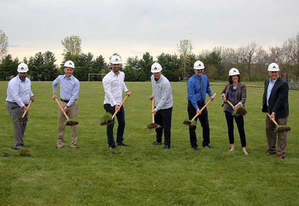 Members of the Bethany Christian, Goshen and Elkhart County communities officially break ground on the new athletics complex at Bethany Christian Schools Saturday in Goshen. Pictured, from left, are Associated Program Officer for the Community Foundation of Elkhart County Ray Caldwell, Bethany Board Chair Rex Hochstedler, Goshen Mayor Jeremy Stutsman, Bethany Athletic Director Gary Chupp, Bethany Head of School Tim Lehman, Bethany Advancement Director Sarah Lind and Ancon project manager Doug VonGunten.