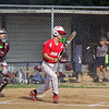 GREG KEIM | THE GOSHEN NEWS<br /> Braxton Kincaid gets ready to run to first after slapping a single for the Goshen Juniors All-Stars in the first inning of a District 14 All-Star baseball game with Mishawaka Saturday at Goshen.