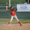 HALEY WARD | THE GOSHEN NEWS <br /> Makenna Steele throws to first base during their practice on Monday at Hoover Field in New Paris.
