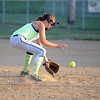 HALEY WARD | THE GOSHEN NEWS <br /> Brooke Sanchez grabs the ground ball during their practice on Monday at Hoover Field in New Paris.
