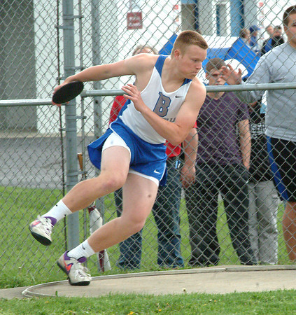 Bryan Helvie   The Herald-Tribune<br /> DISCUS: Batesville's Kevin Bedel competes in the discus competition at home agianst Jac-Cen-Del, North Decatur and Hauser.