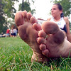 Vicki Graziano of Clyde ran the 4 miler in bare feet.<br /> Photo ben French