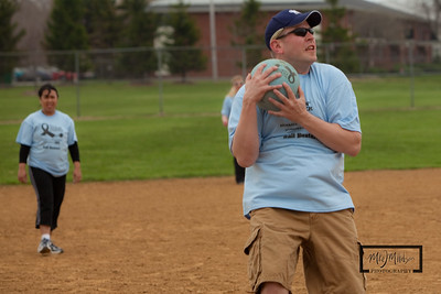 Andy catches kickball for an out.