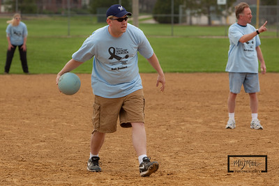 Andy delivers the kickball...