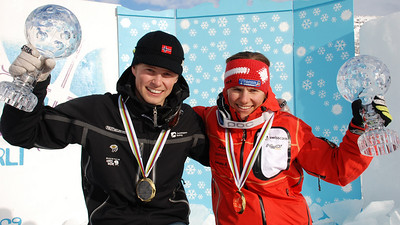 Telemark World cup winners 2009 Rykhus and Amelie Reymond