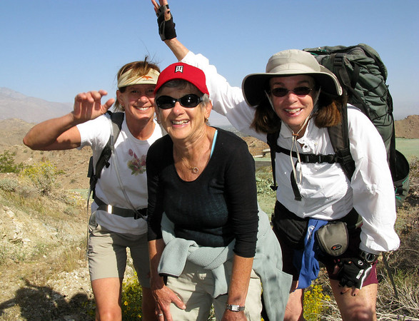 "Heidi, Carol and Linda posing for the camera on self timer.<br /> The trailhead for this hike is at the end of the parking lot of Rancho Mirage Town Hall or City Council building. From the parking lot you gain elevation immediately. Views on this easy hike are interesting from every turn of the trail. The loop trail eventually passes by the Mirada Estates and the ""in a holding pattern"" Ritz Carlton.<br /> <br /> We had a very leisurely stroll this morning. Not that we needed it, but we took a 20 minute break and got back to the car in 2 hours and 10 minutes."