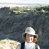 Karen with Steve McQueens old house in the background across the canyon.