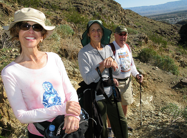 Barbara, Gail and Kern giving me their best smiles. I can be a pest with my camera. We're just heading up Eagle Canyon.