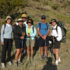 Soon I asked a passing hiker to take our group photo.<br /> L-R Bonnie, Ruth, Roberta Frank and Linda. Dave behind Ruth and Roberta.<br /> I leave in less than a month for a short backpack in New Mexico, so I am starting to get used to carrying my backpack.