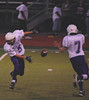 Mission's Spencer Lewis no. 7 and Joe McKernan no. 5 show a little razzle dazzle.