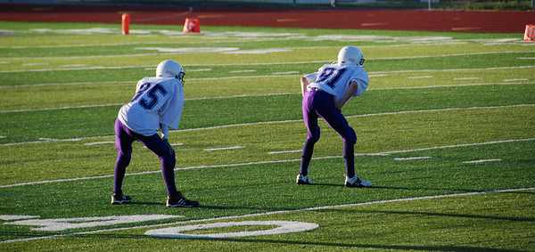 Jeremy Cassiday 85 and Matt Holtmeyer 81 line up for the kickoff after Mission's first touchdown.