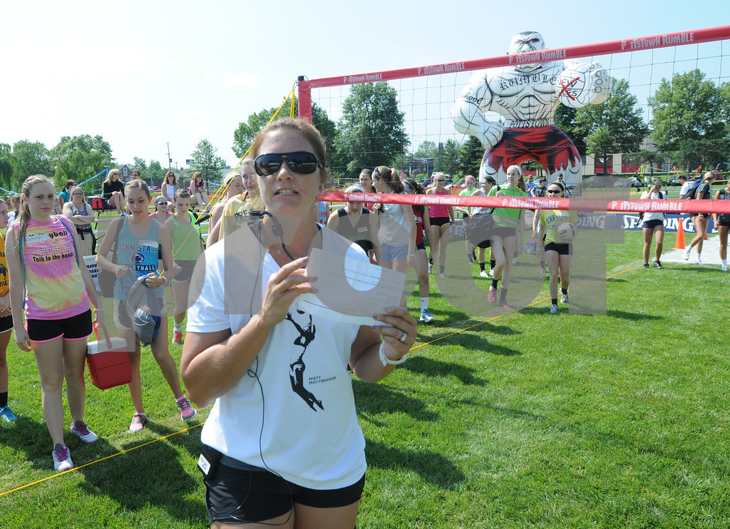 . Olympic gold-medalist Misty May-Treanor speaks at Dream in Gold Clinic. (Photo by John Strickler/The Mercury)