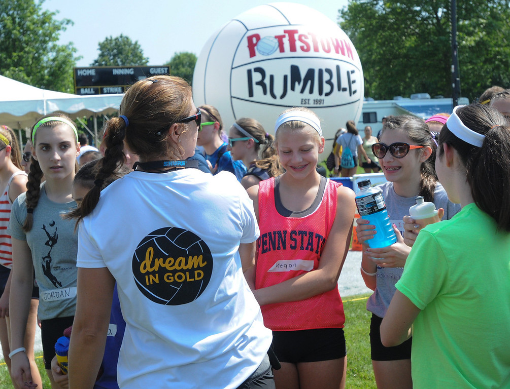 . Dream in Gold Clinic participants chat with Misty May-Treanor. (Photo by John Strickler/The Mercury)