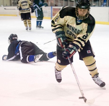 Monarch's Jordan Meehan skates away from his team's net while playing Peak to Peak Peak at Boulder Valley Ice in Superior, Friday, Jan. 8, 2009. <br /> KASIA BROUSSALIAN