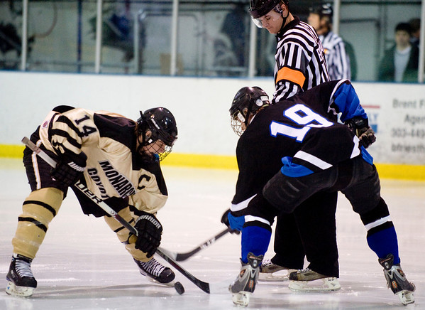 Monarch's Michael Roberts (left) faces off Peak to Peak's Ryan Hartwig during their game at Boulder Valley Ice in Superior, Friday, Jan. 8, 2009. <br /> KASIA BROUSSALIAN