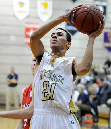"""Monarch High School's Marcus Stewart drives to the hoop during a game against Chaparral High School on Friday, Nov. 30, at Monarch High School in Louisville. For more photos of the game go to  <a href=""""http://www.dailycamera.com"""">http://www.dailycamera.com</a><br /> Jeremy Papasso/ Camera"""