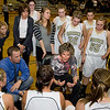 Monarch High School Head Coach Gail Hook, center, goes over a game plan with her team on Friday, Feb. 25, during a basketball game against Chatfield High School at Monarch. Monarch defeated Chatfield 66-38.<br /> Jeremy Papasso/ Camera