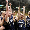 "Legacy High School's Emily Glen, No. 11, Jordan Salaz, No. 13, and Caitlyn Smith, No. 23, scream with joy after defeating Monarch High School in the Class 5A Colorado State Championship game on Friday, March 9, at the Coors Event Center on the University of Colorado campus in Boulder. Legacy won the game 58-51. For more photos of the game go to  <a href=""http://www.dailycamera.com"">http://www.dailycamera.com</a><br /> Jeremy Papasso/ Camera"