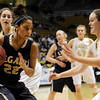 "Legacy High School's Kailey Edwards drives the ball past Monarch's Jordan Eisler, right, during the Class 5A Colorado State Championship game against Monarch High School on Friday, March 9, at the Coors Event Center on the University of Colorado campus in Boulder. Legacy won the game 58-51. For more photos of the game go to  <a href=""http://www.dailycamera.com"">http://www.dailycamera.com</a><br /> Jeremy Papasso/ Camera"