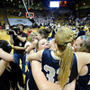 "Legacy High School's Kara Walling, front right, hugs Courtney Smith, No. 33, while Kailey Edwards, left, hugs Caitlyn Smith, No. 23, after defeating Monarch High School in the Class 5A Colorado State Championship game  on Friday, March 9, at the Coors Event Center on the University of Colorado campus in Boulder. Legacy won the game 58-51. For more photos of the game go to  <a href=""http://www.dailycamera.com"">http://www.dailycamera.com</a><br /> Jeremy Papasso/ Camera"