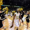 "Monarch High School's Alexus Johnson runs through a gauntlet of cheerleaders at the start of the Class 5A Colorado State Championship game against Legacy High School on Friday, March 9, at the Coors Event Center on the University of Colorado campus in Boulder. Legacy won the game 58-51. For more photos of the game go to  <a href=""http://www.dailycamera.com"">http://www.dailycamera.com</a><br /> Jeremy Papasso/ Camera"