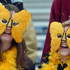 Monarch fans Emma Anderson, left, and Roni Burgener dressed in their butterfly masks to cheer for the Coyote's during the state 4A semi-final game against Pueblo West at Warrior Stadium in Lafayette on Saturday.<br /> <br /> November 24, 2012<br /> staff photo/ David R. Jennings