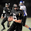 """Monarch High School junior Gus Sawicki runs with the ball after making a catch on Friday, Nov. 12, during a football game against Longmont High School at Centaurus High School in Lafayette. Longmont defeated Monarch 42-24.<br /> For more photos go to  <a href=""""http://www.dailycamera.com"""">http://www.dailycamera.com</a><br /> Photo by Jeremy Papasso"""