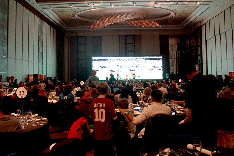 Fans gathered to watch a delayed showing of the Indianapolis Colts vs. Detroit Lions game. Photo credit: Kerry Hotel Pudong.