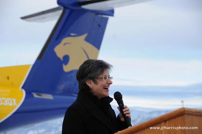 Montana State president Waded Cruzado at Gallatin Field airport in Belgrade Montana with the new Horizon Air MSU Bobcat plane