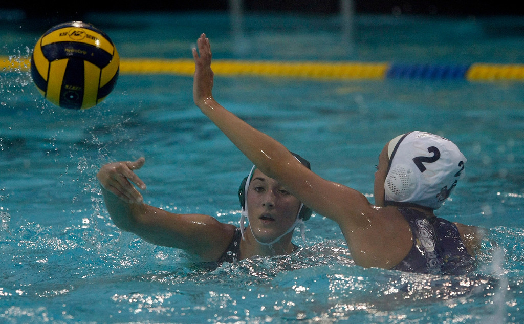 . Colleen Mayone of Monterey and #2 Emily Rindermann of Salinas during the Monterey High vs. Salinas High girls water polo match on Oct. 22, 2013 at Santa Catalina School in Monterey.  (Vern Fisher/Monterey County Herald)
